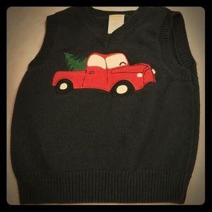 Gymboree navy blue Christmas sweater vest